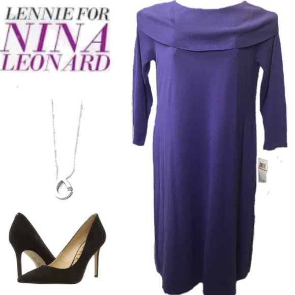 2f79a3d1cb3 NWT Lennie for Nina Leonard Purple Sweater Dress